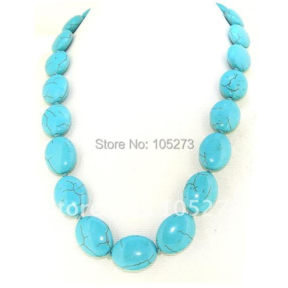 Single Turquoise Necklace 20inch AA 15X20MM Nugget Turquoise Gemstone Bead Knotted Fashion Turquoise Jewelry New Free Shipping<br><br>Aliexpress