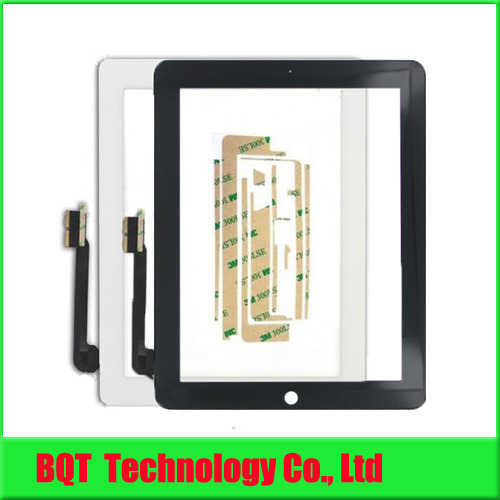 For ipad 4 Touch Screen For Apple ipad 3 Touch Screen Glass Digitizer With Adhesive 100% Guarantee Free shipping(China (Mainland))