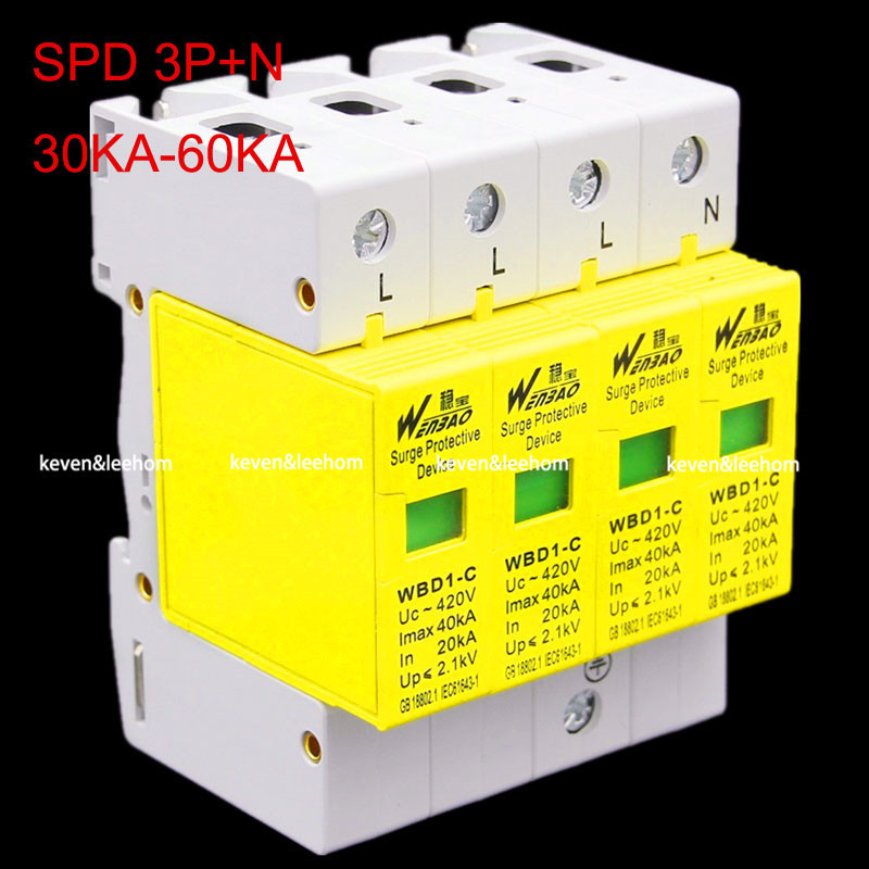wholesale SPD 3P+N surge protector 30KW~60KW Low Voltage Arrester Device(China (Mainland))