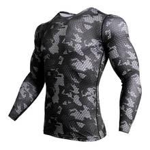 2018 новая спортивная футболка для спортзала Мужская камуфляжная футболка с 3D принтом для бега Мужская футболка для тренировки Рашгард быстр...(China)