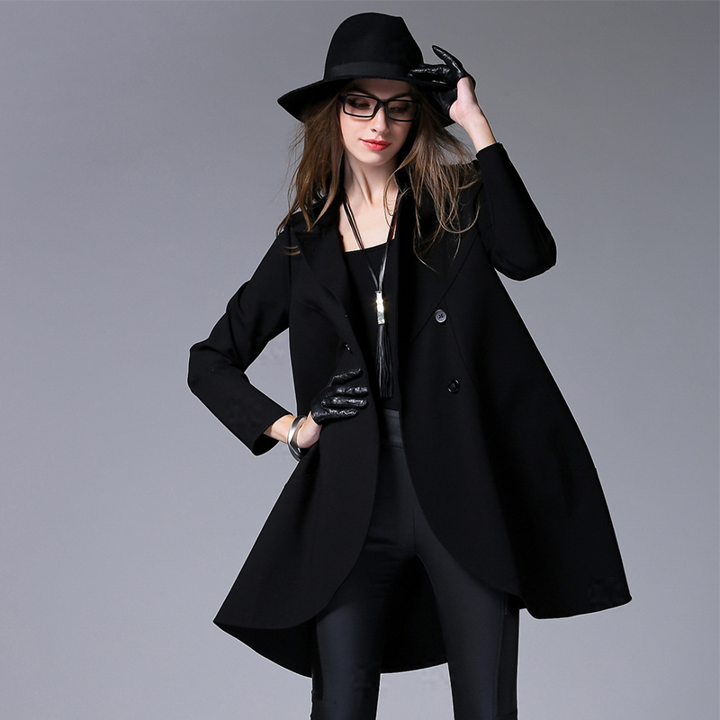 2016 spring new black double-breasted coat collar long loose long-sleeved trech coat womenОдежда и ак�е��уары<br><br><br>Aliexpress