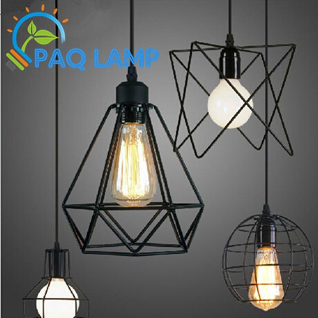 Лофт лампы урожай подвеска свет из светодиодов balck железа металлическую клетку абажур склад стиль освещение светильник