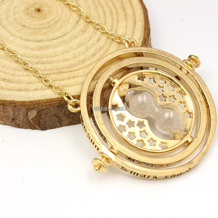 Freeshipping Printed Harry Potter Hermione Rotating Time Turner 18k Gold Necklace Granger Props in gift box Free shipping(China (Mainland))
