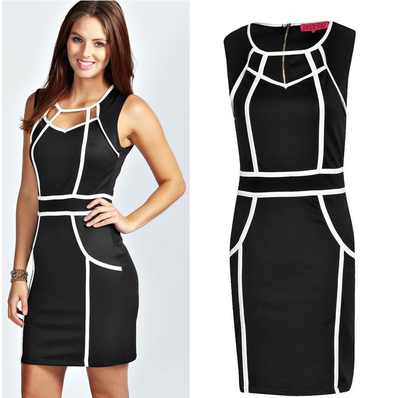 Black And White Office Dresses For Women