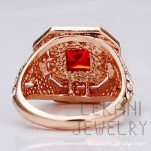 Inalis Brand Top Quality 18K Gold Plated Ruby Finger Rings Elegant Jewelry CZ Diamond Austrian Crystal