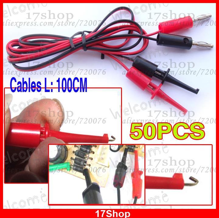 50PCS banana plug TO Test Hook Cable Grabbers Probes IC(China (Mainland))