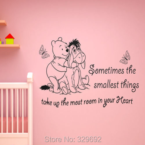 Free Shipping 2015 New Vinyl Classic WINNIE THE POOH WALL ART QUOTE STICKER - GIRL BOY KIDS NURSERY LOVE DECAL tx-213(China (Mainland))