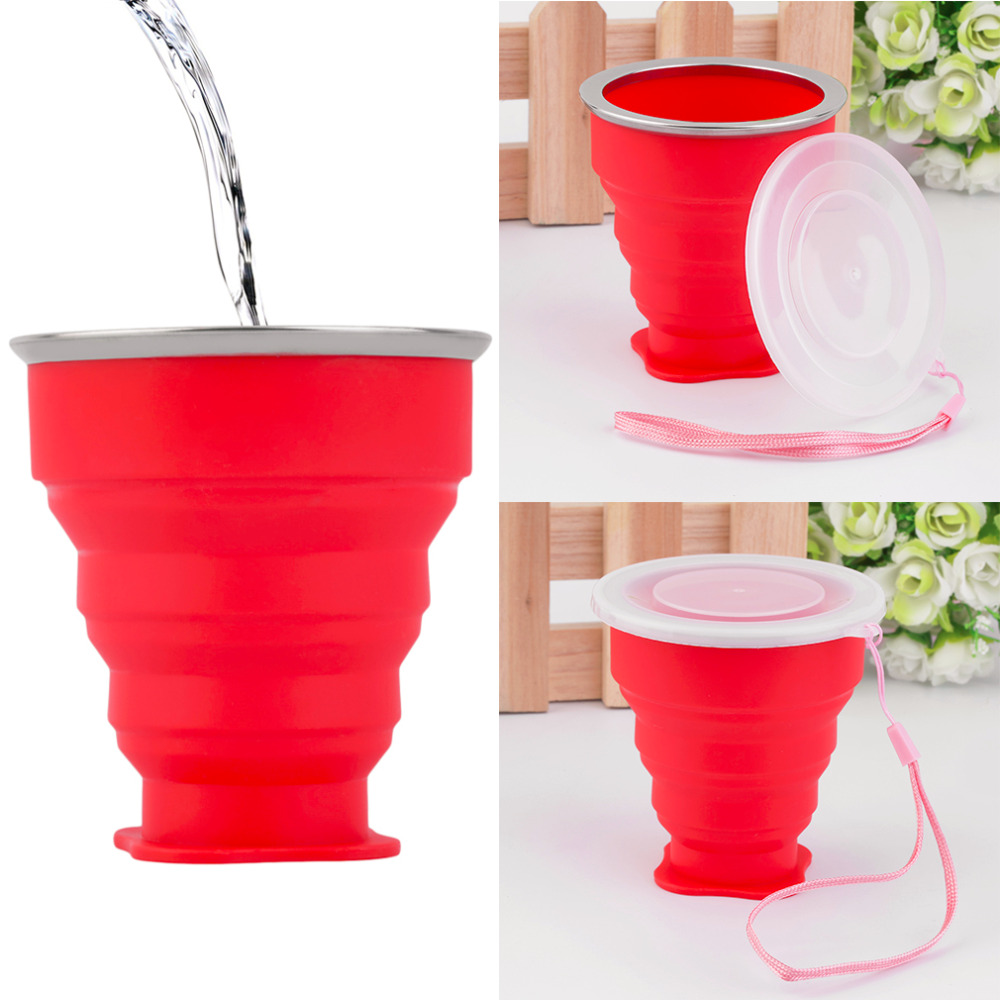 Portable Mini Travel Silicon Cup Retractable Folding Collapsible Outdoor Cup free shipping