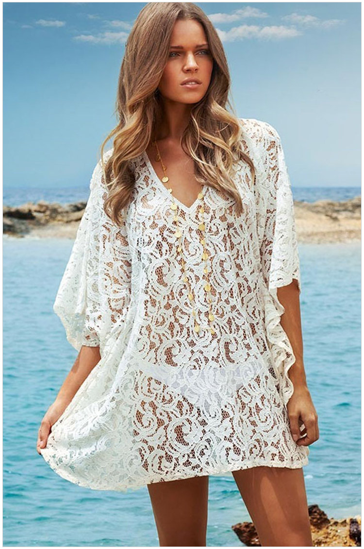 2015 fashion swimwears sexy crochet white lace beach dress women cover ups summer bikini cover ...