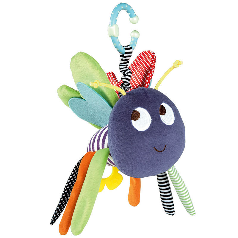 Baby Soft Bee Plush Toy Teether Colorful Stroller Crib Bed Hanging Ring Bell Baby Rattle Educational