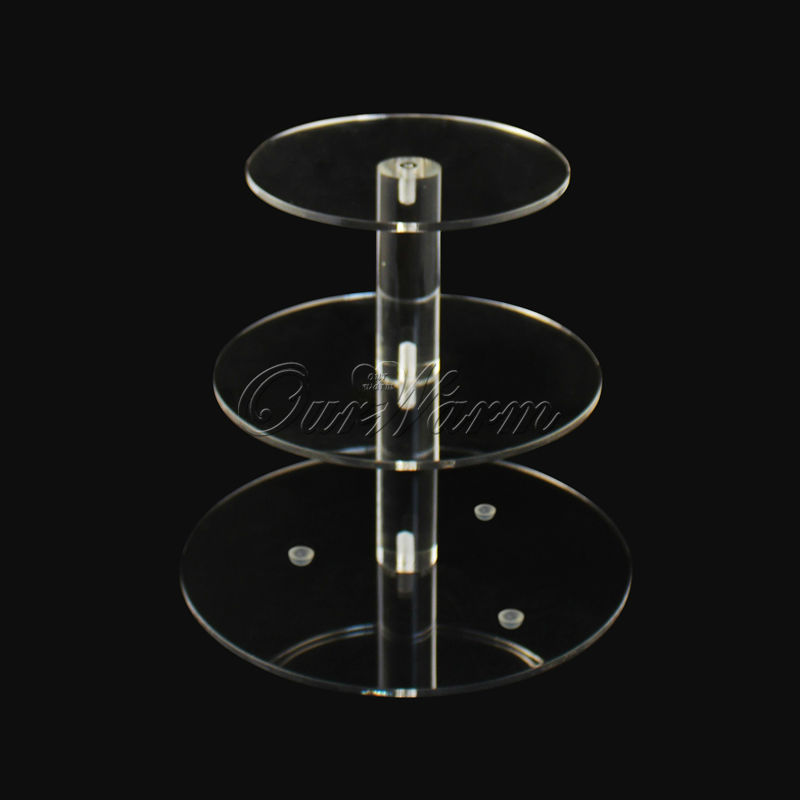 3 Tier Crystal Clear Circle Acrylic Cupcake Stand Wedding Party High Supply Craft  Decor Display Hot Sale(China (Mainland))