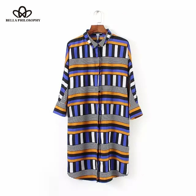 2015 summer spring new Womenswear wholesale vintage ethnic long sleeve vertical Plaid print shirt dress(China (Mainland))