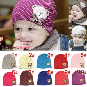 Free Shipping Sale 10 Colors Autumn Winter Warm Cartoon Baby Beanie 2015 New Lovely Bear Baby Cap For Boy Girls Hats 0-12 Month
