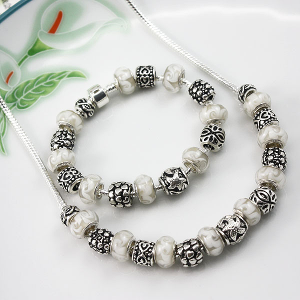 925 silver glass beaded charm Fit Pandora Jewelry sets bracelet & necklace for women wedding jewelry sets for wedding PA0073(China (Mainland))