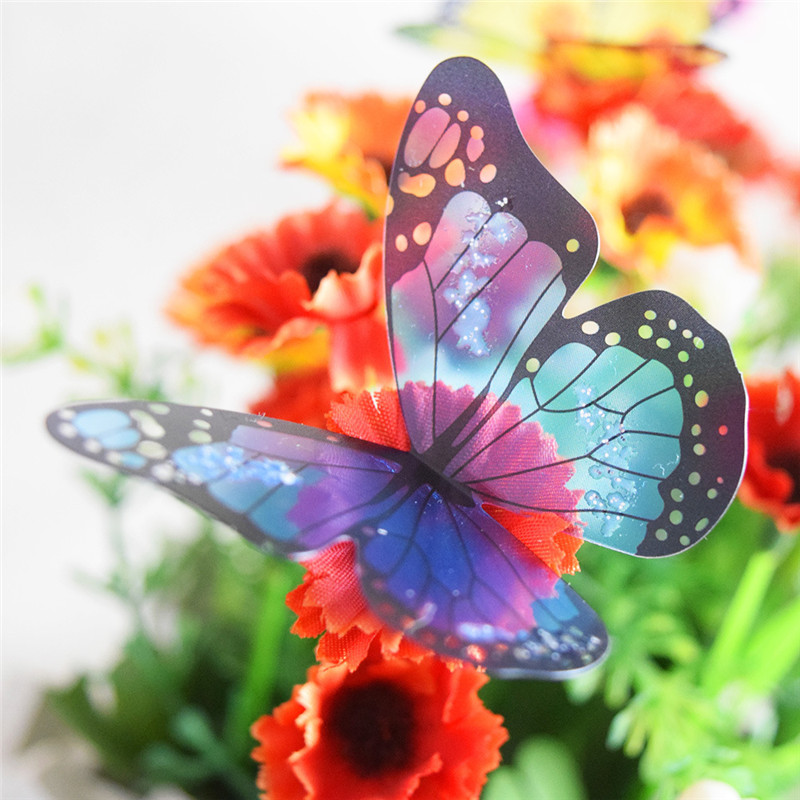 Fashion 18Pcs 3D Butterflies DIY Home Decor Wall Sticker Room Christmas Party Decoration Kitchen Refrigerator Decal(China (Mainland))