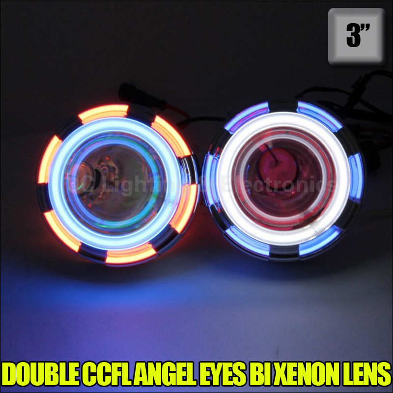 35W H4 H13 HB3 H1 H7 HB4 9004 9007 8000K 6000K 4300K bulb 3'' inch Bi Xenon Lens Projector CCFL Double Angel Eyes headlight(China (Mainland))