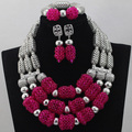 Hot Sell African Wedding Silver Mix Pink Orange 3 rows Coral Beads Jewelry Sets Necklace Nigeria