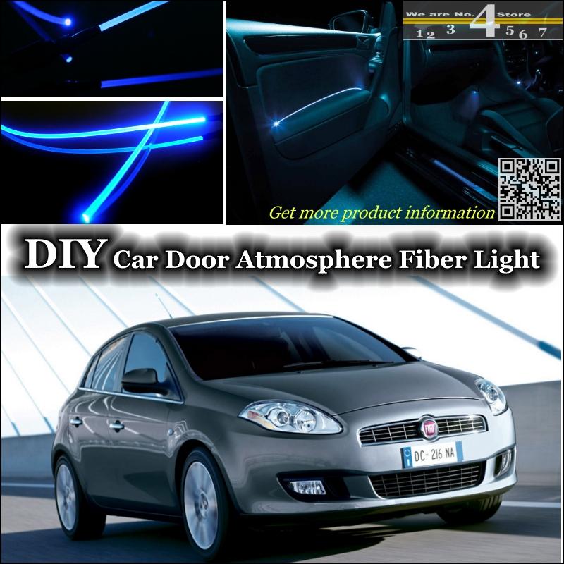 interior Ambient Light Tuning Atmosphere Fiber Optic Band Lights For Fiat Bravo / Ritmo 2007~2015 Door Panel illumination Refit(China (Mainland))