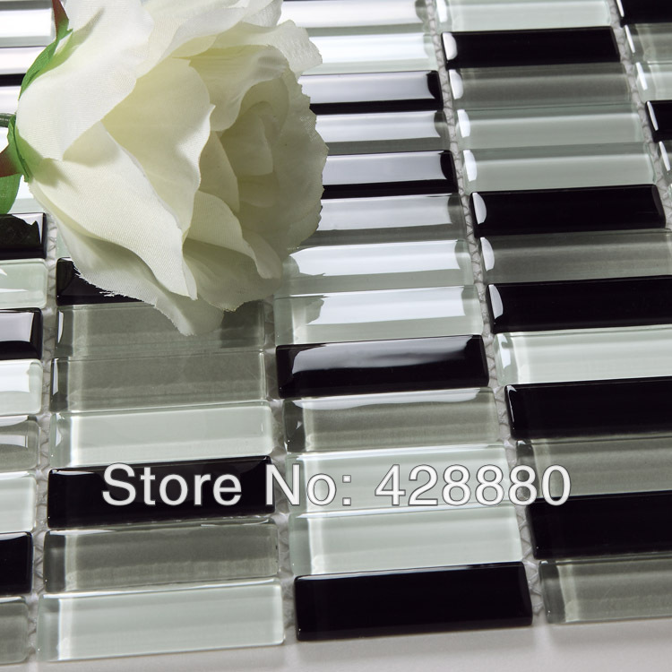 Glass Mosaic Tile Strip Crystal Backsplash Liner Wall Tiles Black And White Mosaic Glass Tile