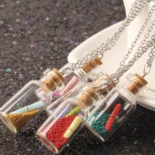 Buy collares choker necklace long collier Cute Wish Bottle Necklace Silver Chain Letter Glass Pandent Women vintage NR2197 for $1.09 in AliExpress store