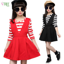 Buy New Girls Clothing Sets Teenage Girls Clothes School Uniform Girls Striped T Shirt Dress Set Kids Children Autumn Clothes for $18.18 in AliExpress store