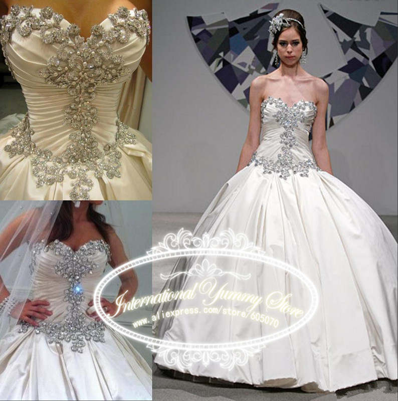 2015 Princess Ball Gown Satin Wedding Dress Wedding Gowns Vestido de Noiva with Sequins and Crystals Strapless Lace up Back(China (Mainland))