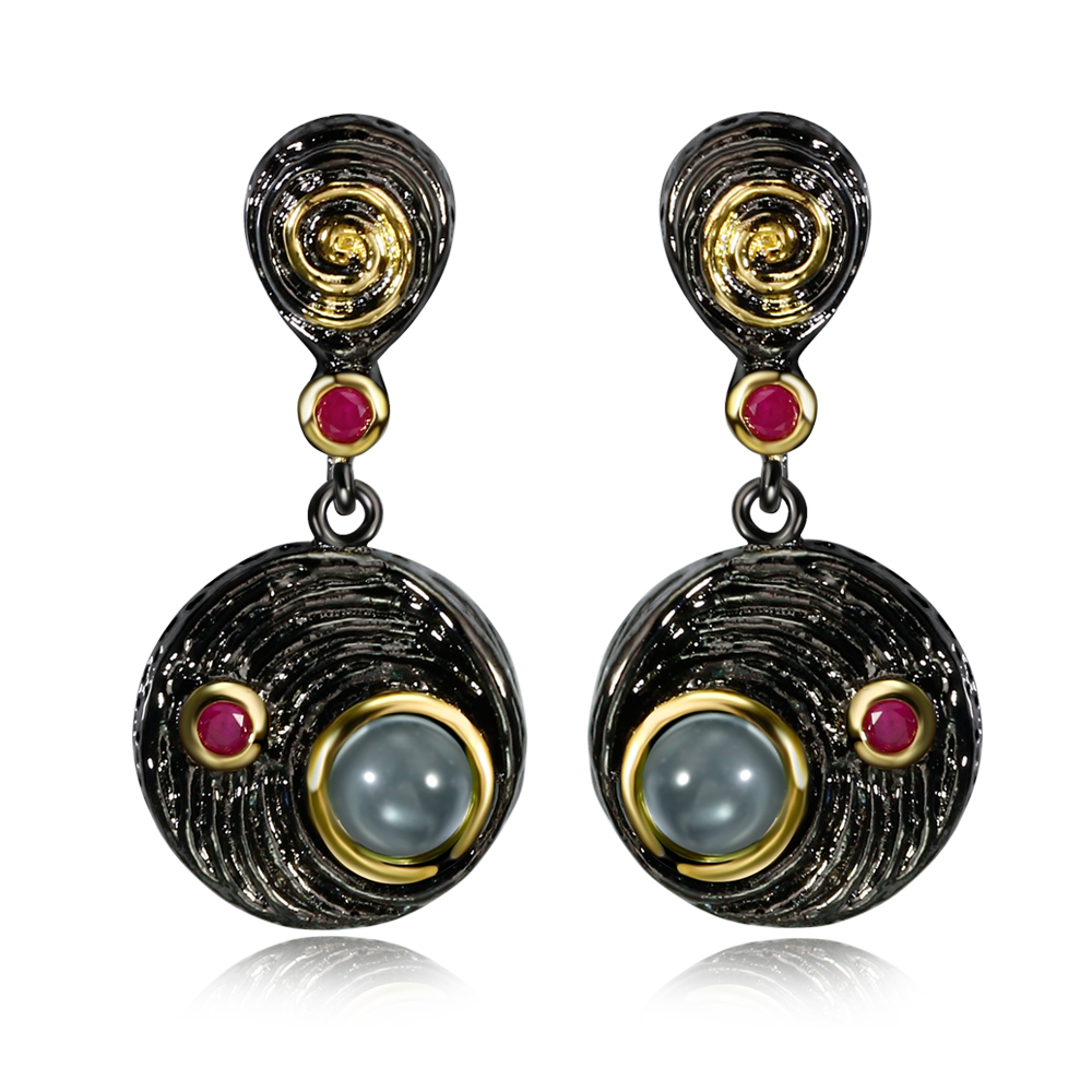 DC1989 Free shipping 2016 Vintage Round Disk drop Black Gold plated Fuchsia Cubic Zirconia Drop earrings for women (E027)(China (Mainland))