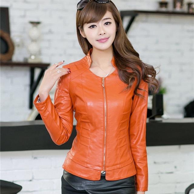 2015 Stand Воротник Slim Женщины's Leather Jackets Модный Sexy Кожа PU является ...