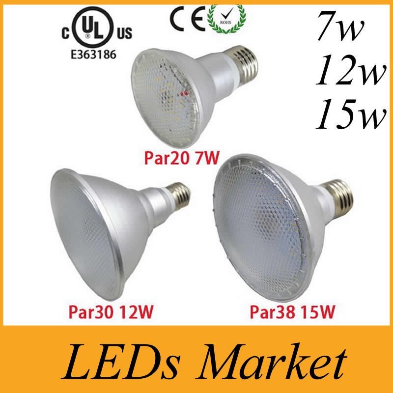 Waterproof IP65 7W 12W 15W Led Spot Lights Lamp E27 Par20 Par 30 Par38 Led Spotlight Outdoor Led Bulb Lamp AC85-265v Free DHL(China (Mainland))