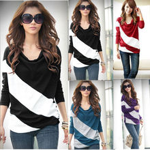 Fashion New Womens Girl Casual Batwing Stripe Top Loose Long Sleeve T-Shirt Blouse 4 Size