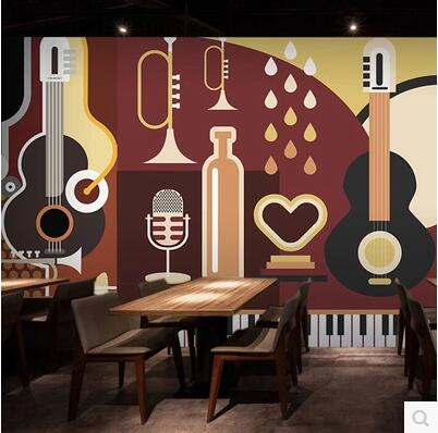 Rock guitar theme large mural wallpaper ktv bar music for Cafe mural wallpaper
