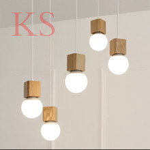 Vintage pendant light Oak Wood Retro lamp 120cm color wire E27/E26 socket wood lampholder Hanging light fixture.no light bulbs(China (Mainland))