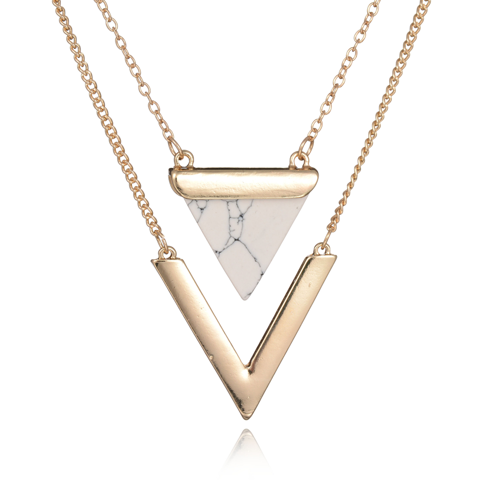 Women Gold Color Punk Necklaces From India Hot Geometric Triangle Faux Marble Stone Pendant Necklace Vintage Jewelry(China (Mainland))