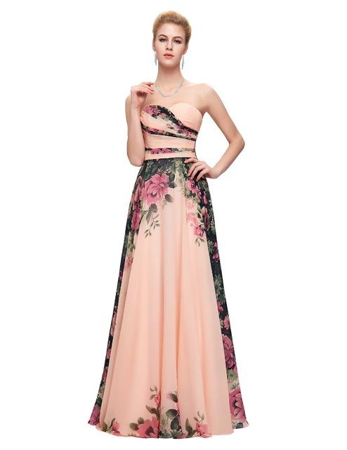 Роскошные вечерние платья новое поступление 2016 цветы печать длинные вечерние платья ...