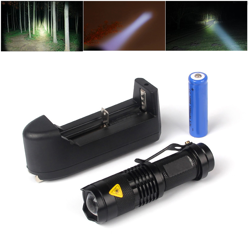 3in1 Q5 Powerful Led Flashlight Self Defense 1200LM Hunting Hands Light Up Lantern Camp Led Torch +US Plug Charger+14500 Battery(China (Mainland))