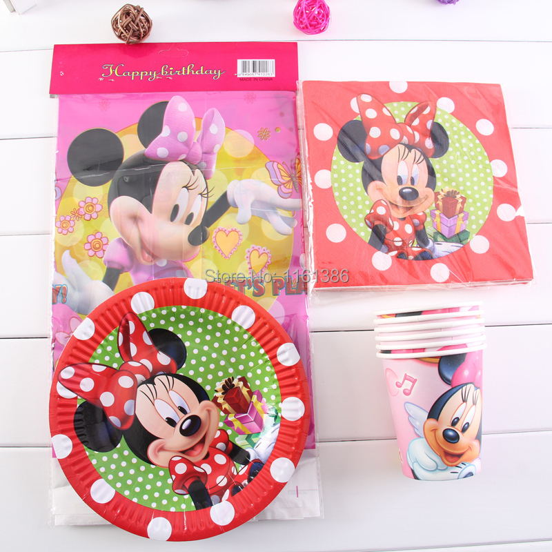 MK05,Minnie Party Decoration Paper Cups+Paper Plates+Paper Napkins+Table Cover for Kids Birthday Party Decoration Supplies(China (Mainland))