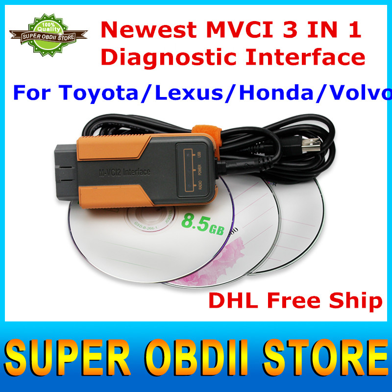 2016 Newly Released MVCI 3 IN 1 V10.10.028 MVCI Diagnostic Interface For Honda/Toyota/LEXUS OBD2 Scanner DHL Free Ship(China (Mainland))