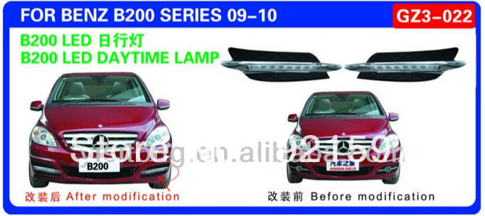 chrome auto parts replacement used for Mercedes W245 B200 2009 2010 LED DRL daytime running light