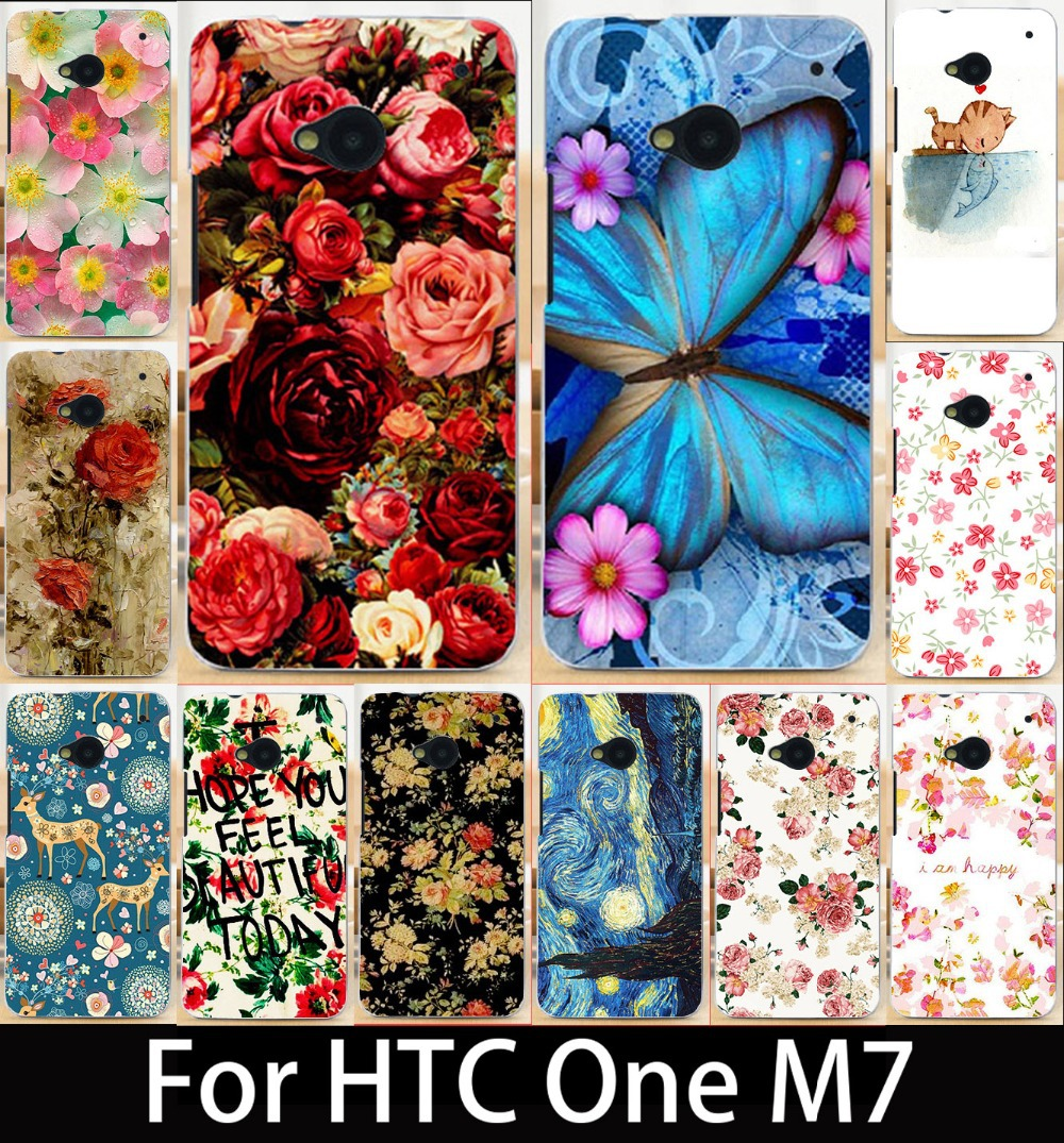 Гаджет  Flowers&butterfly Painted Case back cover For HTC One M7 Mobile Phone Case Cover Case FOR HTC One M7 801e 802w Hard PC Case None Телефоны и Телекоммуникации
