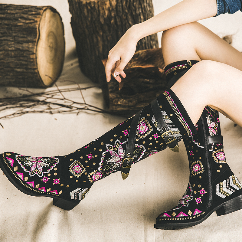 2015 Winter New Arrival Embroidered Retro Knee High Genuine Leather Flats Boots Metal Buckle Fashion Brand Designer Tall Boots<br>