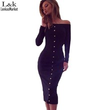 Womens Dresses spring Autumn Long Sleeve Bodycon Dress Plus Size off shoulder Casual button dress 63(China (Mainland))
