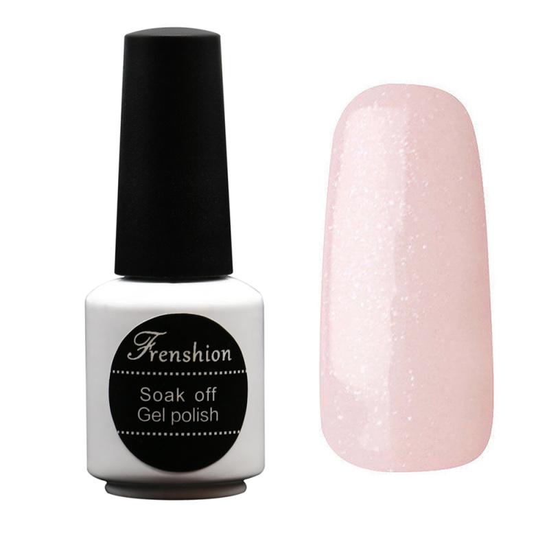 Frenshion 7.3ML Esmalte Glitter Light Pink Nail Gel UV Gel Nail Polish Soak Off Bling Vernis Semi Permanent for DIY Nail Art(China (Mainland))