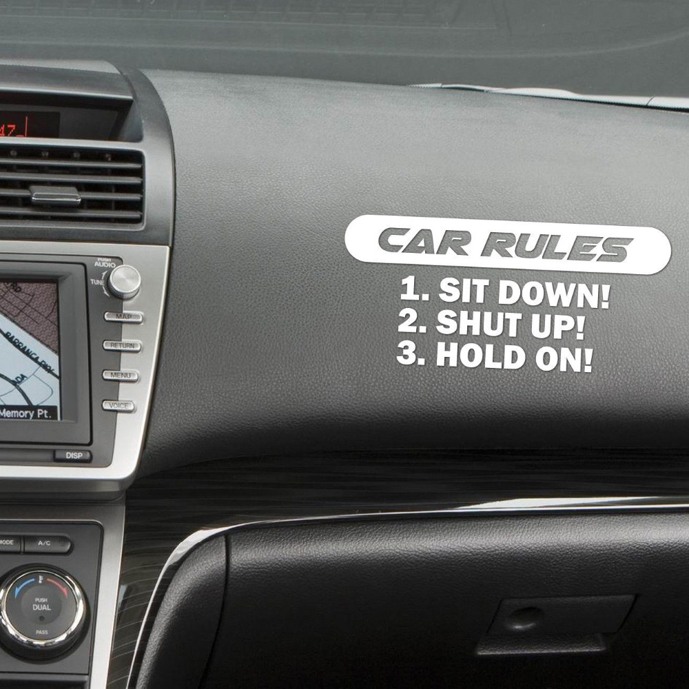 car interior sticker funny car rules fashion vinyl decal auto decoration in stickers from. Black Bedroom Furniture Sets. Home Design Ideas