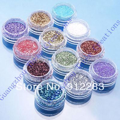 Free Shipping 120pcs Mix Colors Nail Art Glitter Dust Powder, Nail Glitter #75077(China (Mainland))