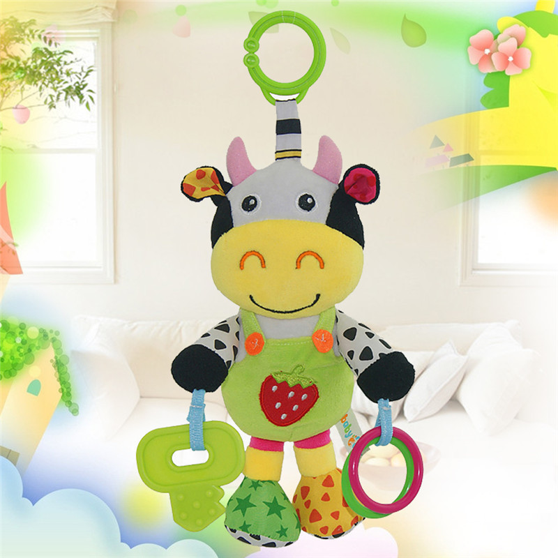 New Infant Plush Animal Stroller Music Hanging Bell Toy Doll Soft Cartoon Animal Pendant Doll Plush Toy built in music box(China (Mainland))