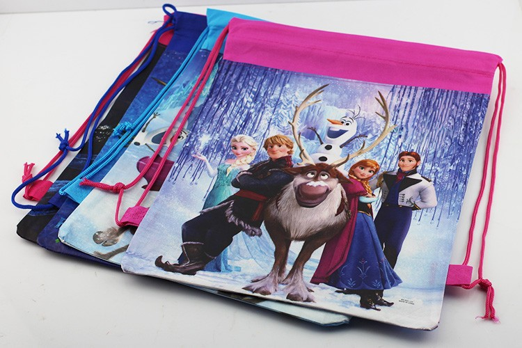 Free Shipping 12pcs/lot New Arrival 4 styles Princess drawstring bags two-sided bags Princess Anna Elsa Children's backpack(China (Mainland))