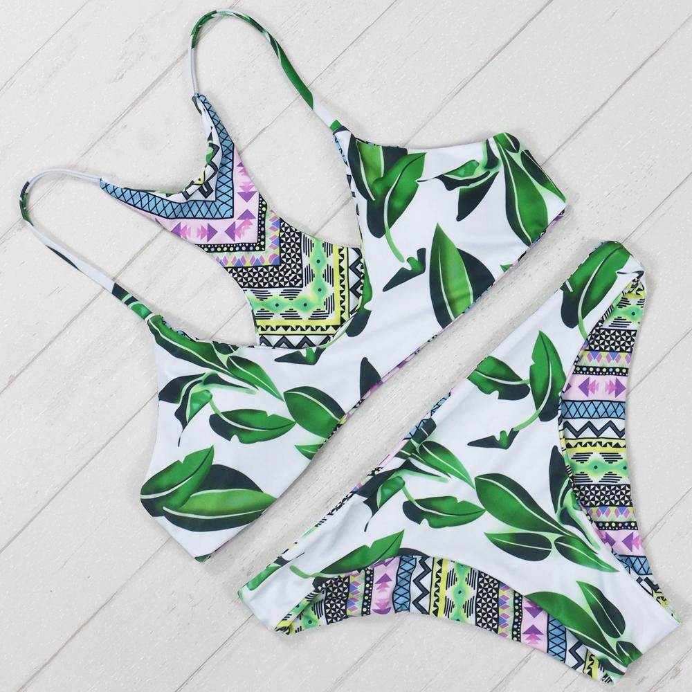 Bikini 2016 Sexy Brazilian Style Printing Bikini Feminino Biquinis Green Tree Leaf Women Bathing Suit Worth Buying Swimwear(China (Mainland))