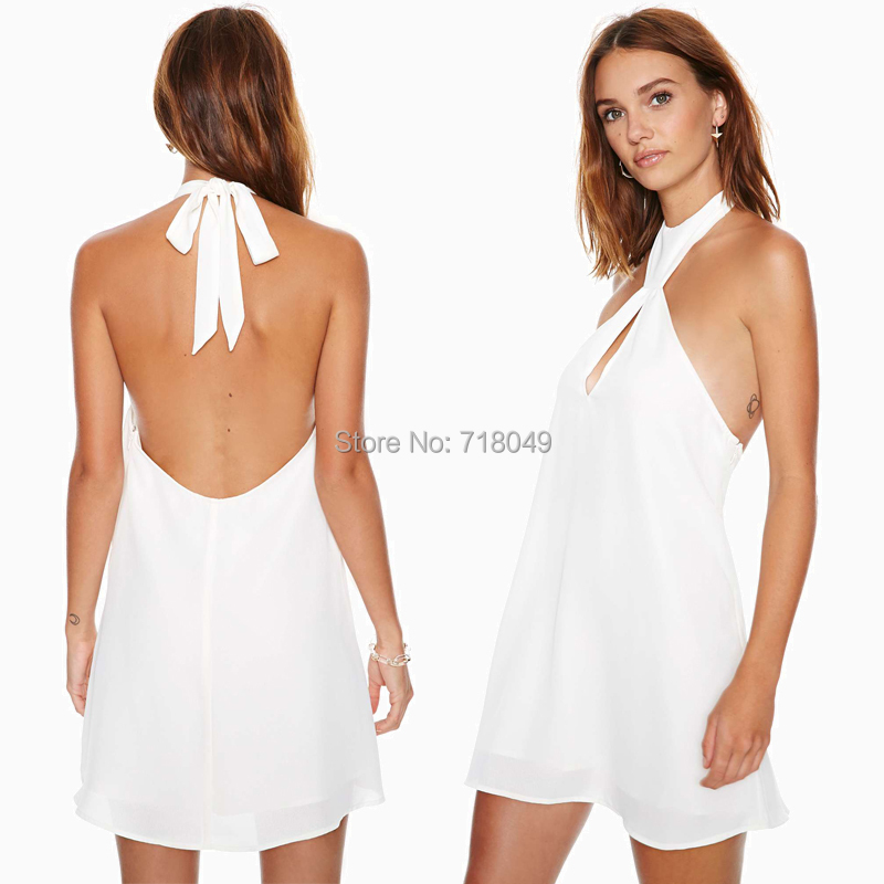 Womens Dresses 2014 New Mini Short White Beach Dress Off-The-Shoulder Backless Hollow Out Halter Sexy Dress Club Wear Plus Size(China (Mainland))