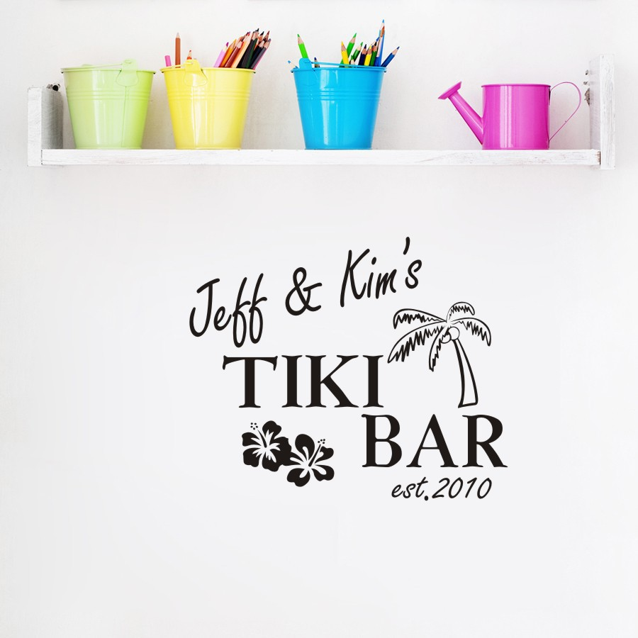 Personalized Name Customer Name Tiki Bar Wall Decals Vinyl Lettering Personalized Sticker Words Decor(China (Mainland))