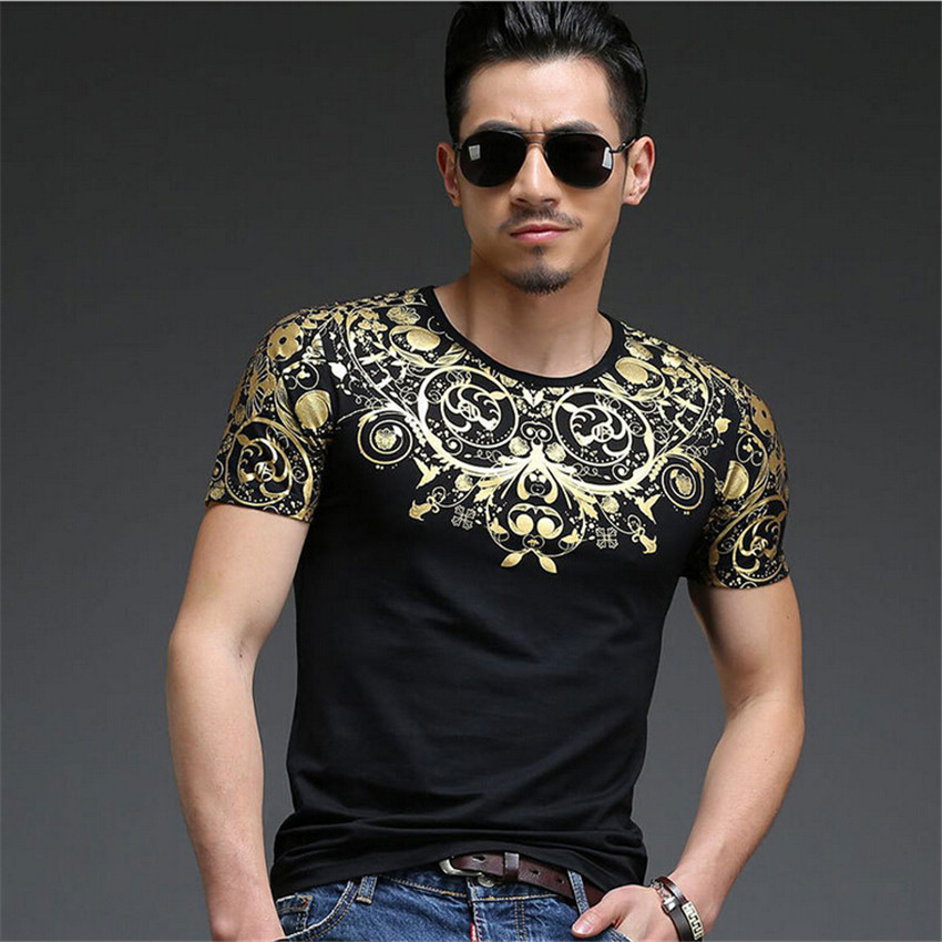 2015 new spring and summer fashion men's T-shirt classical art bronzing men short sleeve T shirt free shipping high-end luxury(China (Mainland))